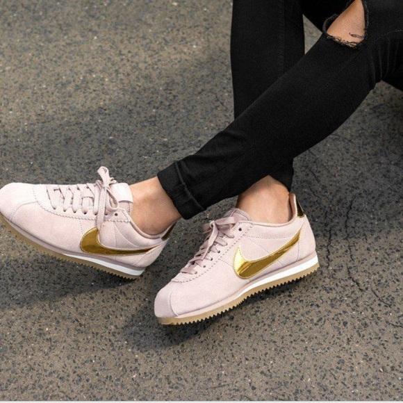 size 40 34940 0e263 6.5 Nike Cortez Taupe  Metallic Gold